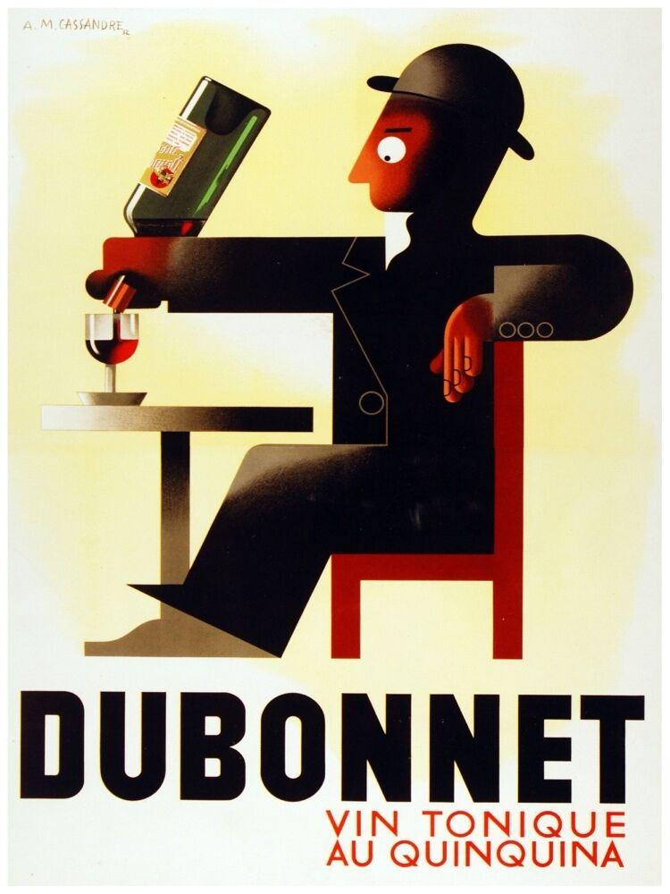 4395.Dubonnet.man pouring wine by himself..POSTER cor Home Office art