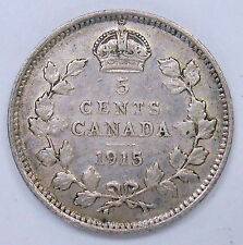 1915 Five Cents Silver VF * Sharp SCARCE Date LOW Mintage KEY George V Canada 5¢