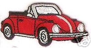 """2 1/2"""" Red Convertible Beetle Vehicle Car Embroidered Patch"""