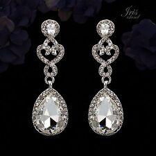 Rhodium Plated Clear Crystal Rhinestone Wedding Bridal Drop Dangle Earrings 0020