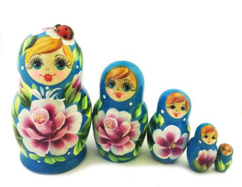 "Blue Matreshka MATRYOSHKA 5 Nesting Doll Floral Lady Bug RUSSIAN Gift 4/"""