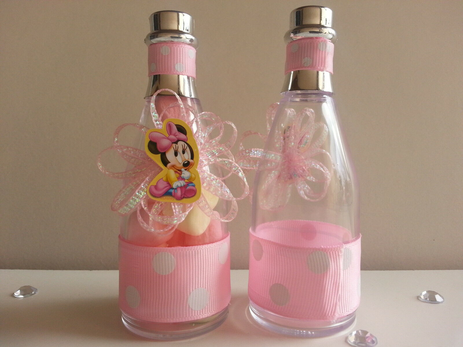 12 Minnie Mouse Fillable Champagne Bottles Baby Shower Favors Game ...
