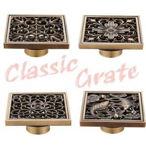 AU-Stock-Classic-Floor-Drain-Grate-Shower-Square-Bathroom-Waste-Quality-Copper