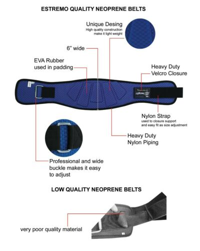 "Workout Belt for Men /& Women Weight Lifting Belt 6/"" Wide for Lower Back Support"