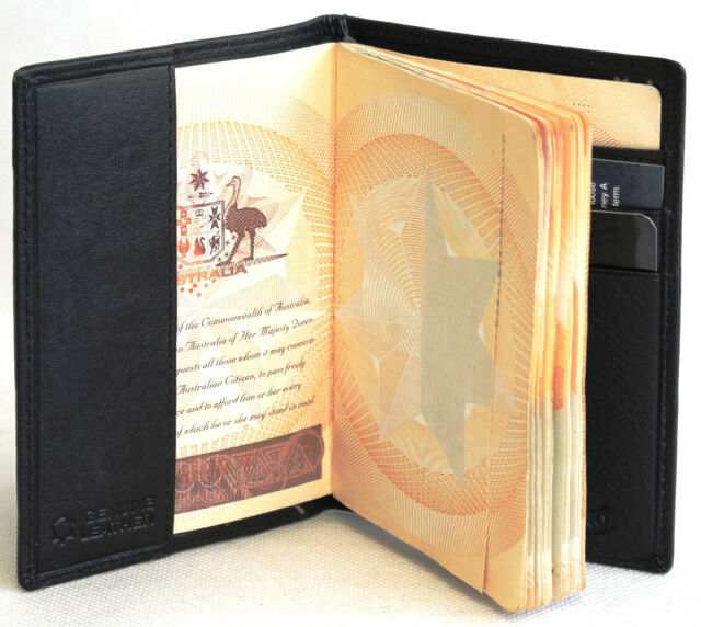 RFID Security Lined Leather Passport Holder FullGrain CowHide Leather. BLK 11017