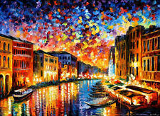 Venice Grand Canal  — Palette knife Oil Painting On Canvas By Leonid Afremov.