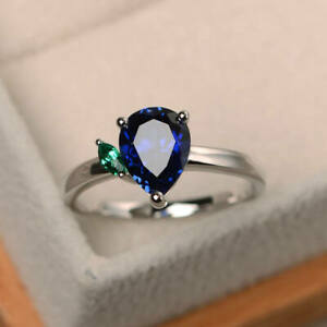925-Sterling-Silver-Natural-Certified-3-Ct-Blue-Sapphire-Engagement-Ring-For-Her