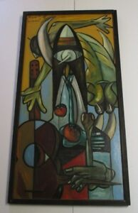MIGUEL-MARINA-PAINTING-1966-ABSTRACT-SURREALISM-CUBISM-PALOMARES-SPAIN-LARGE-OIL
