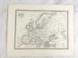 1846 Ancien Carte De The Berbère Empire Barbarie Rare Main Coloré Gravure