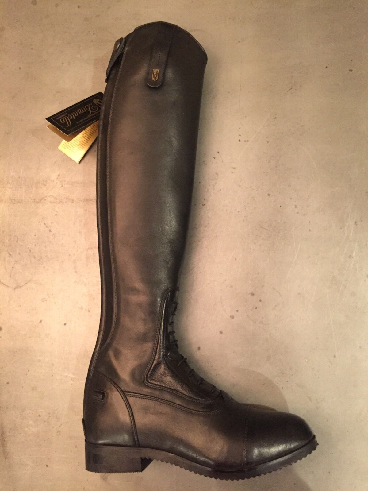 "NEW Blk Tredstep Donatello Field Boots sz 7 1 2, Reg calf 14"", Tall height 19"""