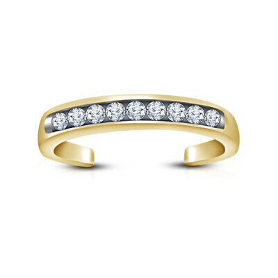 DAILY WEAR GIFT 14K YELLOW GOLD OVER ROUND DIAMOND CHANNEL ADJUSTABLE TOE RING