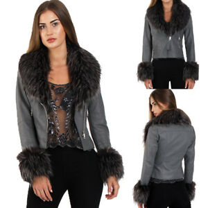 New Women Thick Faux Fur Collar Faux Leather Biker Jacket Ladies Zip