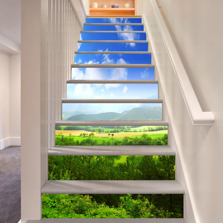 3D Green Trees 704 Stair Risers Decoration Photo Mural Vinyl Decal Wallpaper CA