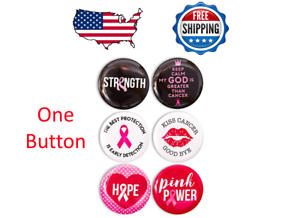 Details about  /ONE Breast Cancer Awareness Button Pin Pink Ribbon Round Buttons Pinback Support