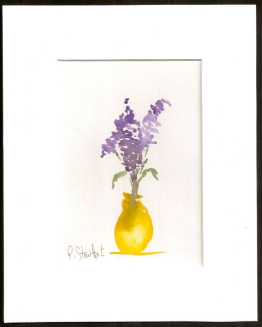 Lilacs in Yellow Vase Watercolor painting w/mat Original Painting Penny StewArt