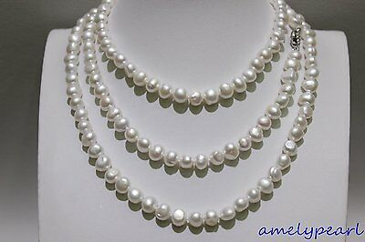 White long necklace Baroque Fresh water pearl necklace 7x9mm 48INCH