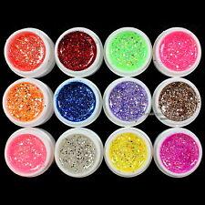 12 pcs Mix Color Glitter Hexagon Sheet Nail Art UV Builder Gel False Tips Set