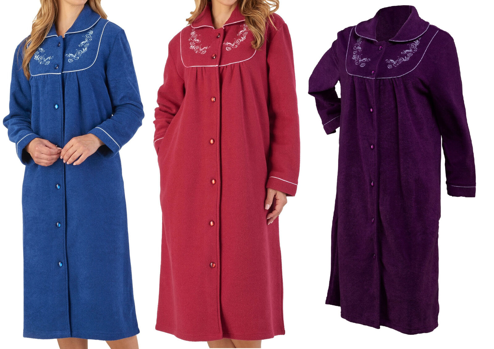 Slenderella Womens Button Up Dressing Gown Boucle Fleece Embroidered Housecoat
