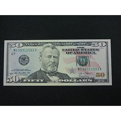 2013 $50 US DOLLAR BANK NOTE MG 59311593 A 3 DIGIT BOOKEND BILL USD UNC CU