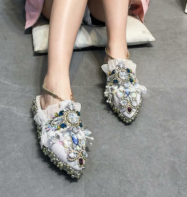 Sandalias para mujer de lujo de diamantes de imitación perlas Puntera Puntiaguda Zapato Cuña Tacón Bajo yoooc