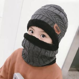 2pcs Gorra Con Bufanda Para Niños Sombrero De Lana Invierno Protección De Oreja