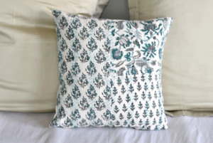 Mint Hand Block Printed Patchwork Cushion Cover