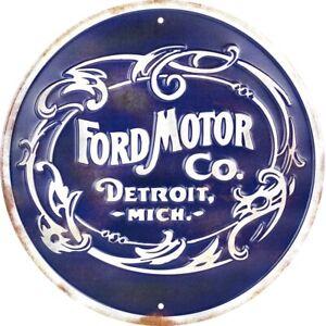 "MI FORD TRUCKS ROUND METAL SIGN 12/"" BUILT TOUGH SINCE 1917 EMBOSSED DETROIT"