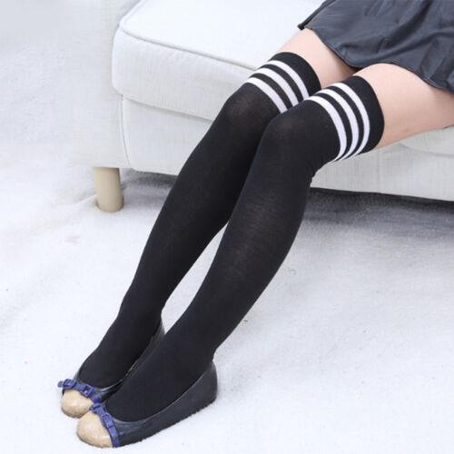 Kniestrümpfe Hosen Damen Streifen Overknees Socken Strümpfe Cheerleader College