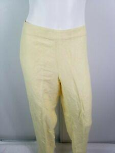 Tommy-Bahama-Pants-Size-12-Yellow-Light-Weight-Zipper-Straight-Leg-Linen-Silk