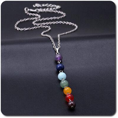 Reiki Halskette Yoga Kette Anhänger  7 Chakren Edelstein 1 Opal