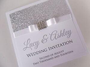 Handmade Personalised Luxury Wedding Invitation Sample Glitter