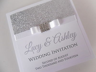 Handmade Personalised Luxury Wedding Invitation Sample (Glitter Sparkly Bling)