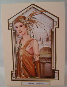 Luxury-Art-Deco-Lady-Birthday-Card-Family-or-General-can-be-personalised