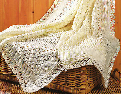 "Beautiful Baby Shawl Matinee Jacket & Bonnet 14"" -22"" 3 Ply Knitting Pattern"