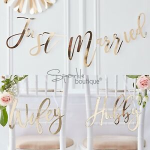 d692210f9 JUST MARRIED  BUNTING    WIFEY     HUBBY  CHAIR SIGNS -Gold Wedding ...