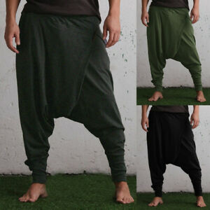 Fashion Mens Harem Pants Yoga Festival Baggy Hippie Dance Large Crotch Trousers