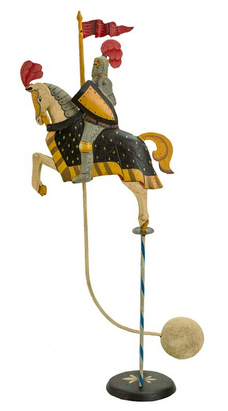 Antiqued Medieval Knight Sky Hook 14.2 Titter Totter Tin Metal Balance Toy
