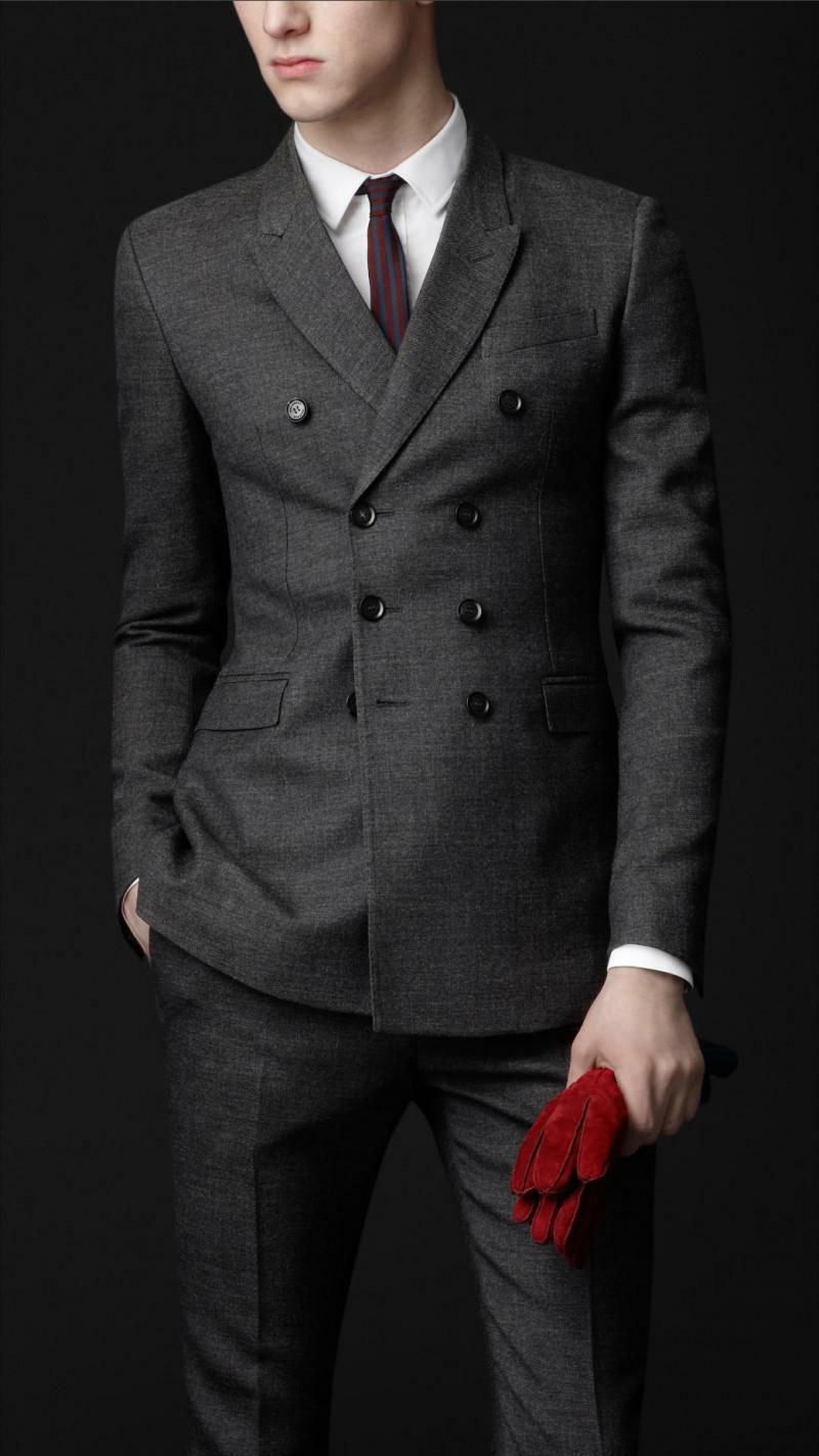 Mens Bespoke Double Breasted Slim Fit Suits Wedding Party Wear Dinner Coat Pants