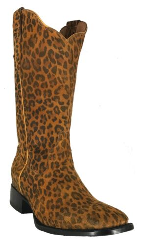 Women/'s New Leopard Design Leather Cowgirl Western Boots Cognac Square Sale
