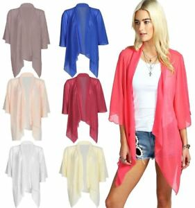 WOMEN-LADIES-PLAIN-MESH-CHIFFON-3-4-SLEEVE-WATERFALL-KIMONO-CARDIGAN-SHRUG-8-26