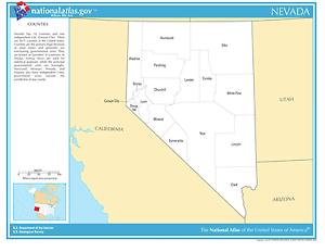 Nevada State Counties Laminated Wall Map