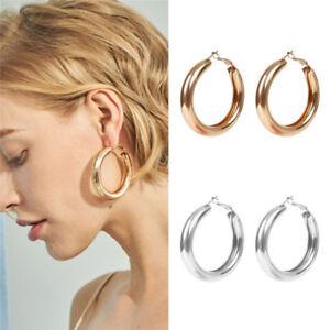 692362298fd26 Women Simple Silver/Gold Punk Large Hoop Earrings Big Circle Hoops ...