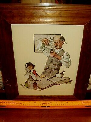 "Diligent 1970s Framed Print Of Norman Rockwell's ""the Apothecary"" On Heavy Linen Paper Art Prints"