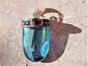 Aqua-Aura-Quartz-Garnet-Sterling-Sliver-Setting-Infused-24K-Gold-99-Clarity