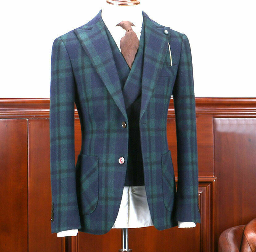 Mens Green Windowpane Wool Suits Double-breasted Vested Formal Peak Lapel Tuxedo