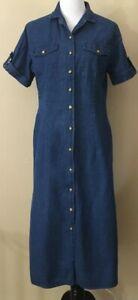 Joanna-Denim-Dress-Women-039-s-Size-Medium-Long-with-side-slits