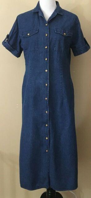 Joanna Denim Dress Women's Size Medium Long with side slits