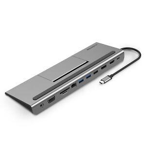LENTION USB C Hub USB 3.0 HDMI VGA Ethernet Aux Docking Adapter for MacBook Pro