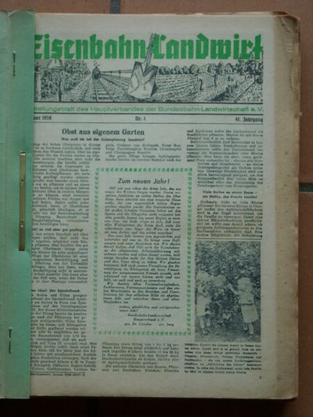 22 X Eisenbahn-landwirt Fachblatt Bundesbahn Landwirtschaft 1/1958 - 12/1959