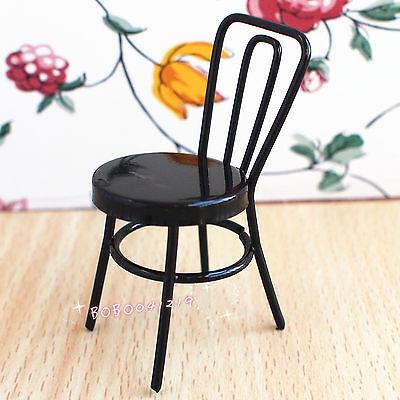 Dollhouse Miniature 1:12 Toy A Black Metal Sewing Machine Chair Height 5cm H17